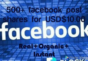 Add 500+ Facebook  Post share with high quality promotion, real, non dropped and work instantly.
