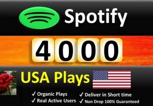 Get 4000 to 8000 Spotify ORGANIC Plays From USA HQ Account or 2000 Worldwide Followers, Permanent Guaranteed
