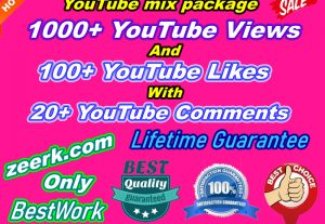 You Get 1000+ NonDrop YouTube Views And 100+ YouTube Likes with 20+ YouTube Comments Lifetime Guaranteed