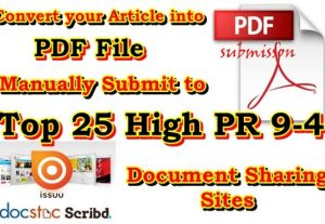 I will submit Your PDF file in 10 High pr pdf sharing websites