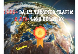 1000+ daily High Quality Keyword Targeted Traffic 2min+ Long duration, Low bounce rate for 30 days