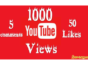 1000 YouTube Views + 50 likes + 5 comments