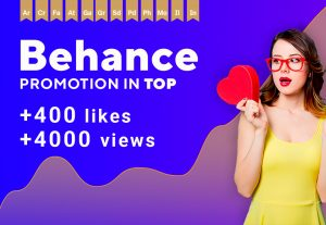 Get +400 Behance Likes, views. Promotion top