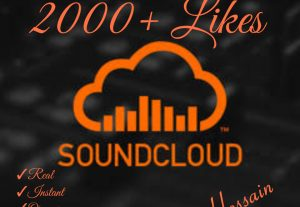 Instant 2000+ SoundCloud Likes HQ,Real & 100% Organic  !!