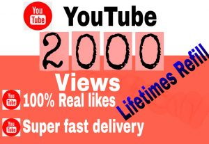 I will Give you Add 2000+ YouTube Views lifetimes Refill 100% Non Drop Guaranteed & Super fast delivery