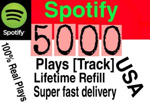 I will  give you 5000+ HQ USA Spotify Plays lifetime   Refill Delivered Fast!