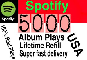 I will  give you 5000+ HQ USA  Spotify album plays lifetime   Refill Delivered Fast!