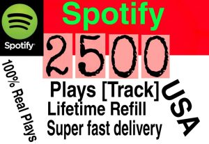 I will  give you 2500+ HQ USA Spotify Plays lifetime   Refill Delivered Fast!