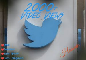 Buy 2000+ Twitter  Video Views at only USD 3.00 with HQ,Real,Non Drop and Genuine at Instant.