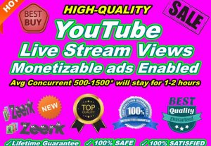 YouTube Live Stream Views Monetizable can be used with ads Enabled Instant Start
