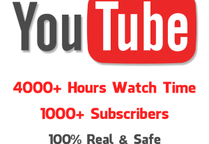 Buy 4000 Hours Youtube Watch Time + 1000 Subscribers For Enable Monetization