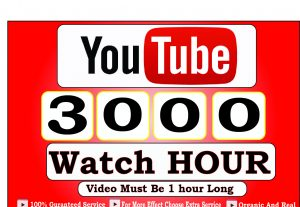 Get 3000+ Hour Youtube Watch Time,Life Time Guranteed Service For 35$