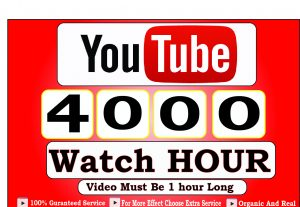 Get 4000+ Hour Youtube Watch Time,Life Time Guranteed Service For 60$