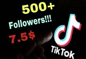 I will add 500+ Tiktok Followers !! Instant !!