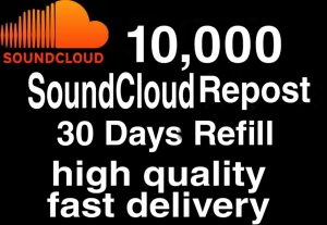 I will  give you 10,000+ HQ SoundCloud Repost 30 days Refill   Delivered Fast!