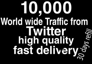 World wide traffick from Twitter fast delivery