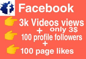 I will Promote 3000+ views + 100 profile followers + 100 page likes
