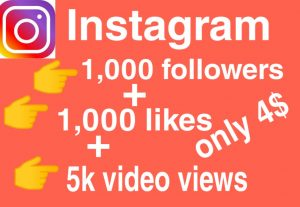 I will give you Add 1,000 followers + 1,000 likes + 5k  videos views Real High Quality Instagram followers/likes/views