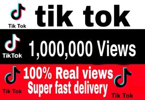 I will give you 1,000,000+ TikTok Views Non Drop & High Retention – Instant Start