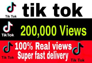I will give you 200,000+ TikTok Views Non Drop & High Retention – Instant Start