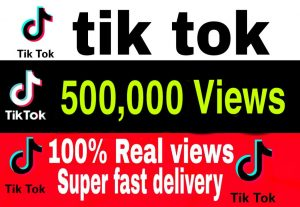 I will give you 500,000+ TikTok Views Non Drop & High Retention – Instant Start