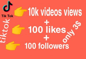 I will give you 10,000 views + 100 likes + 100 followers tiktok High quality – Instant Start