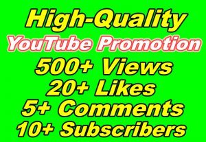 Manually Fast Add 500+ YouTube Views And 20+ YouTube Likes Plus 10 YouTube Subscribers with 5+ YouTube Comments Lifetime Guaranteed