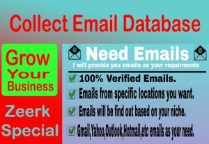 Collect 100% Valid 1,000 Email Database as your business industry