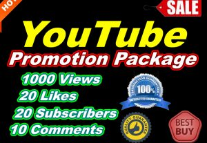YouTube Promotion Package Get more YouTube 1000 Views and 20 Likes, 20 Subscribers, 10 Comments