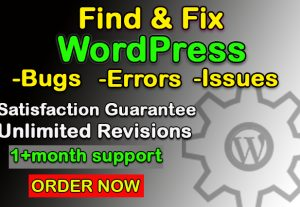 I will find and fix wordpress errors, issues, bugs, and problems quickly