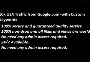 10k USA Traffic from Google.com -with Custom Keywords