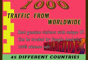 I will drive 1000k real traffic from worldwide