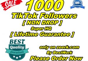I will give you 1000 TikTok Followers Super High-Quality NonDrop LifeTime Guarantee