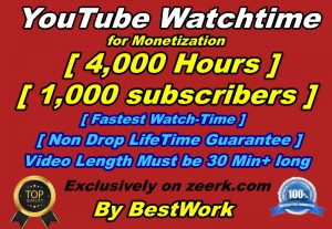 I will give you 4,000 hours watch time and 1,000 subscribers for Youtube Monetization Non-drop Lifetime Guarantee