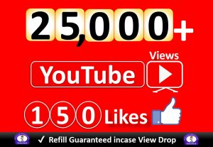 Get YouTube 25,000+ Video Views & 150 Likes to REAL Viewers, Good Retention, Non Drop / Refill Guarantee incase Drop.
