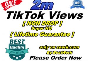 I will add 2000000/2M TikTok Views Super High-Quality Non-drop Lifetime Guarantee Instant Start