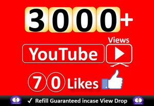 Get YouTube 3000+ Video Views & 70 Likes to REAL Viewers, Good Retention, Non Drop / Refill Guarantee incase Drop.