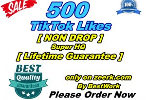 You will get 500 TikTok Likes Super High-Quality Non-drop Lifetime Guarantee