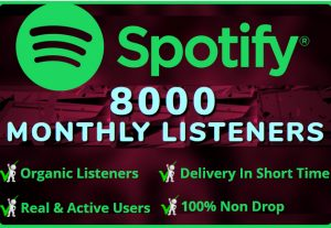 I WILL ADD  ORGANIC 8000 SPOTIFY Monthly LIsteners  From USA HIGH QUALITY Accounts 100% NON DROP