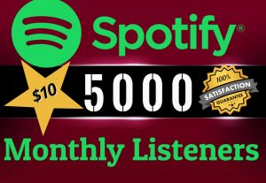 Get ORGANIC 5000 SPOTIFY Monthly LIsteners From USA HQ Accounts, Real Active Users 100% NON DROP.