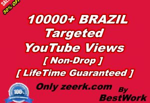 I will give you 10000+ BRAZIL Targeted YouTube Views NonDrop LifeTime Guaranteed