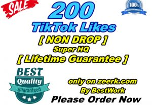 You will get 200 TikTok Likes Super High-Quality Non-drop Lifetime Guarantee