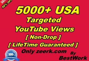 You will Get 5000+ USA Targeted YouTube Views NonDrop LifeTime Guaranteed