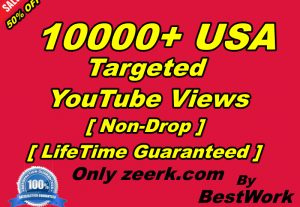 You will Get 10000+ USA Targeted YouTube Views NonDrop LifeTime Guaranteed