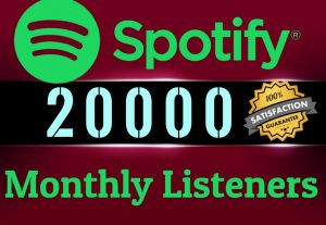 Get ORGANIC 20000 SPOTIFY Monthly LIsteners From USA HQ Accounts, Real Active Users 100% NON DROP.