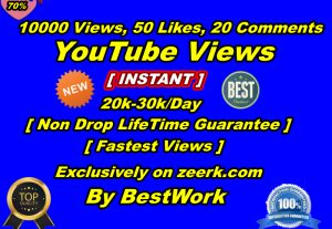 You will get 10000-15000+ YouTube Views, 50+ YouTube Likes, 20 YouTube Comments Non-Drop LifeTime Guaranteed
