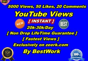 You will get 5000+ YouTube Views, 50+ YouTube Likes, 20 YouTube Comments Non-Drop Lifetime Guaranteed