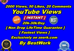 You will get 2000+ YouTube Views, 50+ YouTube Likes, 20 YouTube Comments Non-Drop lifetime Guarantee