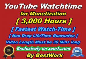 You will get 3,000 hours to watch time for Youtube Monetization Non-drop Lifetime Guarantee