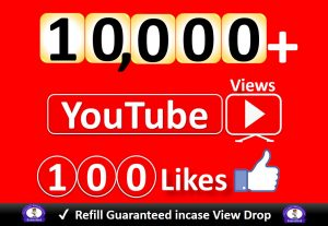 Get YouTube 10,000+ Video Views & 100 Likes to REAL Viewers, Good Retention, Non Drop / Refill Guarantee incase Drop.